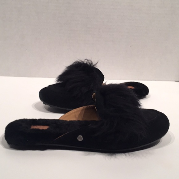 UGG Shoes - UGG Shane POM POM Black Suede  Loafer Slides